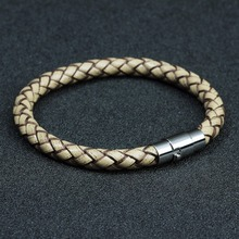 Genuine Stainless Steel Braided Leather Bracelet