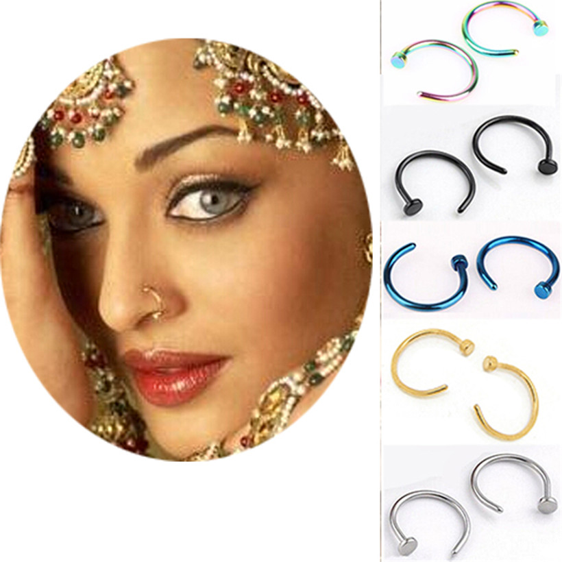 6pcs Surgical steel nose piercing ring pircing women jewelry clip