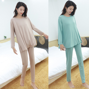 Image 3 - women pajamas set Autumn new home suits Modal short sleeved shirt + trousers  two piece sets loose sleepwear pijama lingerie