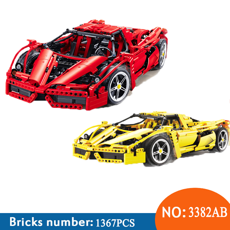 New 3382 Technic Racing Car Enzo Ferraris 1 10 Building Blocks Compatible Bela 9186 8653 Racer