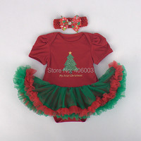 2014 fashion infant baumwolle romper + headmand set rot kleid tutu baby girl weihnachten kleid freies verschiffen