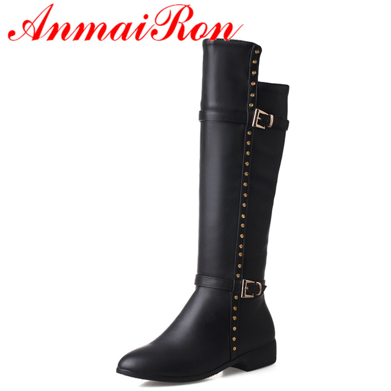 ANMAIRON New Half Boots Shoes Women Low Heels Platform Shoes Classic Black Shoes Mid-calf Boots Zippers Winter Boots Western zippers double buckle platform mid calf boots
