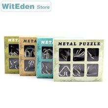цена на 3D Metal Wire Puzzles 6PCS/Sets Classic Knot 9 Ring Interlocking Intelligence Buckle Lock IQ Brain Teaser Antistress Game Toys