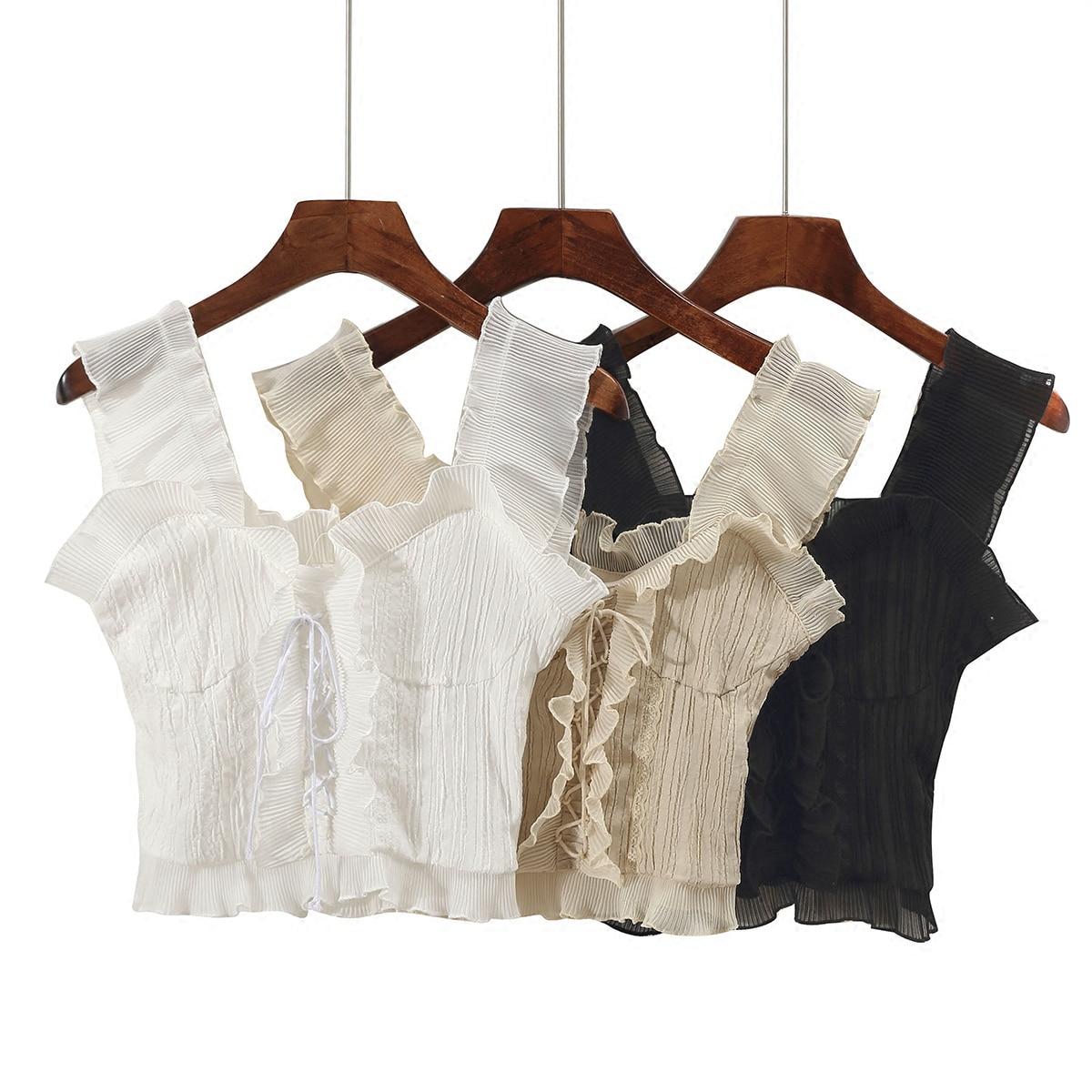 Retro Chiffon Ruffles Camis thin High waist Chiffon Vest sweet short Sleeveless Shirts Lace Up straps Pleated   Tank     Tops   2018