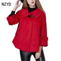Latest Winter Fashion Women Woolen Cloth Coat Lapels Collar Long Sleeve Cloak Coat Patchwork Color Loose
