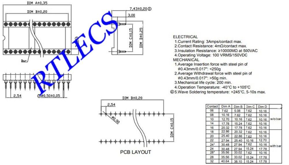 Image 5 - 50 шт. IC розетка 6 8 12 14 16 18 20 22 24 28 32 40 42 48 Pin DIP обрабатываемая контактная розетка с круглым рукавом внутренняя 0,5 мм сквозные отверстия ОловоСоединители    АлиЭкспресс
