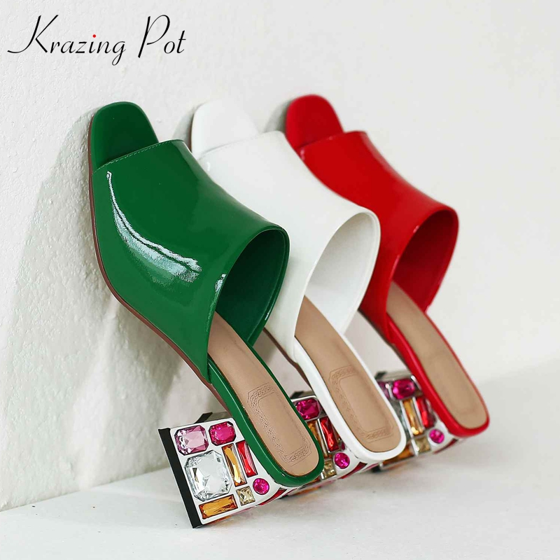 Krazing pot 2019 summer vacation new genuine leather peep toe full of crystal high heels mules