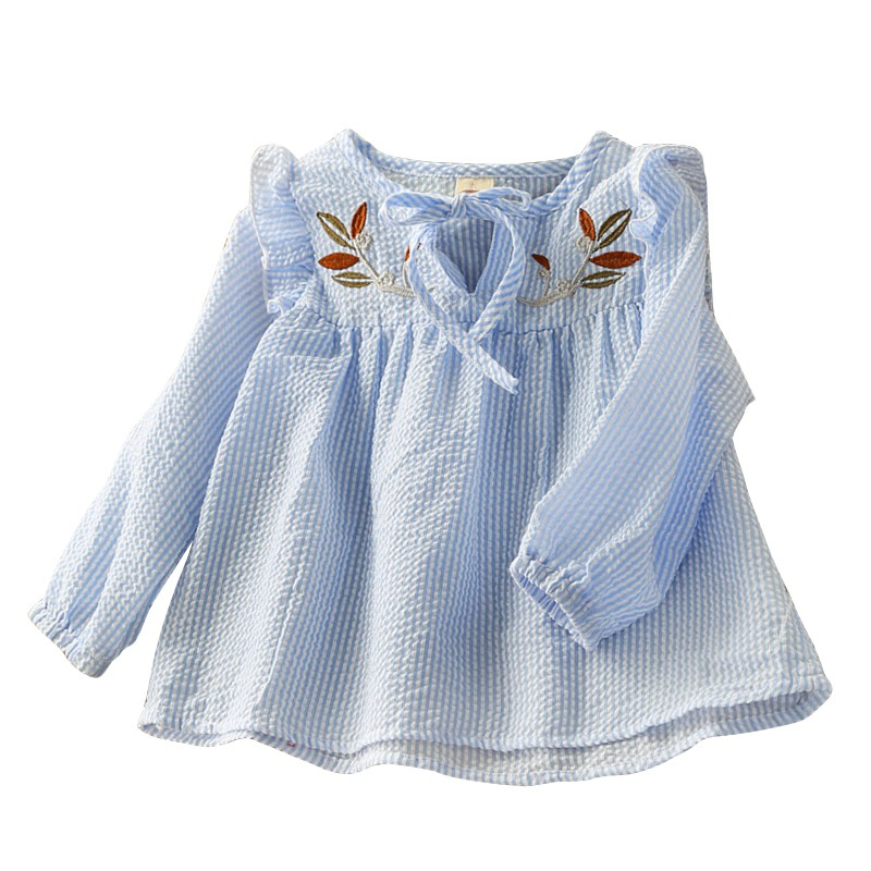 New Baby Girl Long Sleeve Shirt Blouse Autumn Girl Striped Embroidered Long Sleeve Bow Doll Shirt Child Sweet Top contrast embroidered mesh yoke bow tie striped blouse