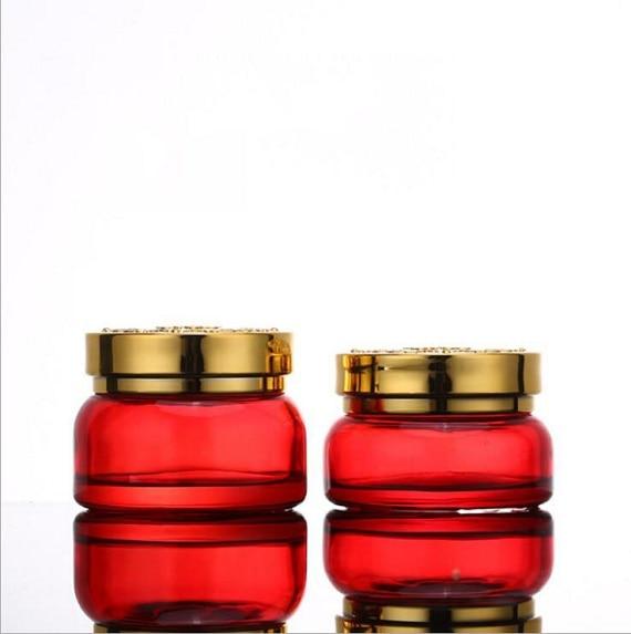120ml 30ml 50g 30g Skin Care Bottle Cosmetic Container Bottle Red Carved lid Glass Bottle Cream Jar Emulsion Essence Vial (3)