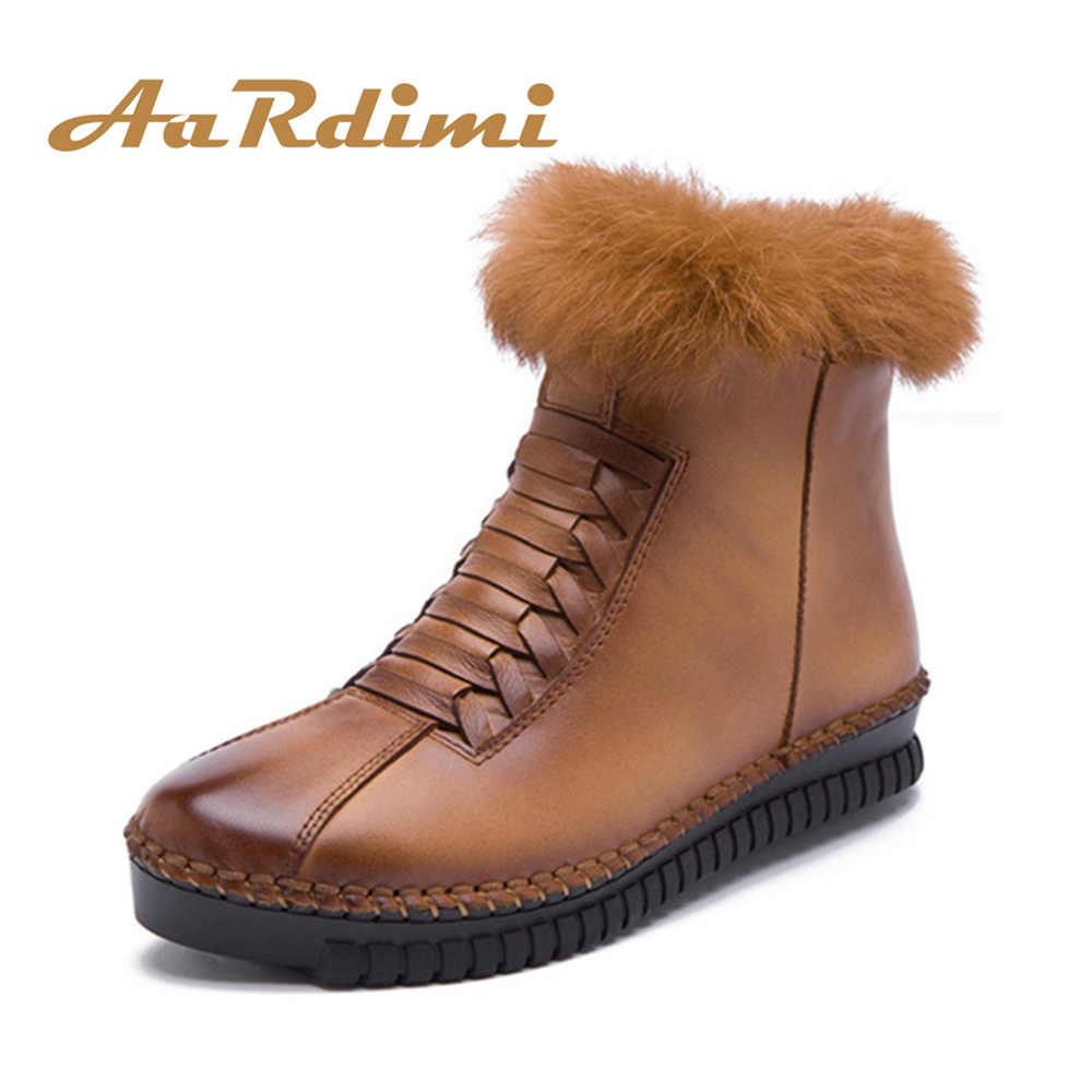Neue 2018 Winter Handgemachte Frauen Stiefel Aus Echtem Leder Fashion Solid Ankle Wohnungen Stiefel Frau Casual Vintage Frauen Stiefel Schuhe