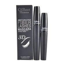New 2pcs/lot Brand QiBest Black Mascara + 3D Fiber Lashs Professional Makeup Waterproof Curling Eye Lash Lasting Cosmetics