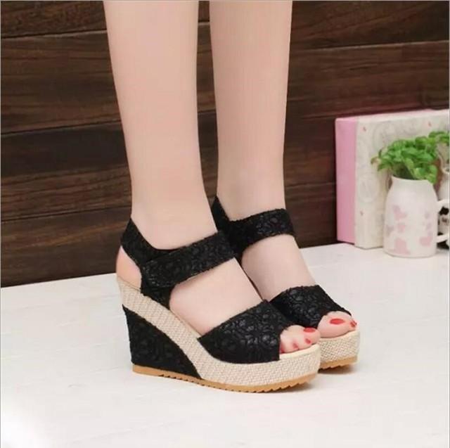 JOKSD Size 35-40 Women Sandals 2017 Summer New Open Toe Fish Head Fashion platform High Heels Wedge Sandals female shoes WY128
