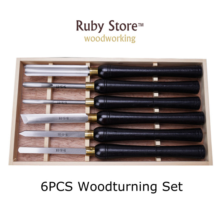 6PCS Woodturning Chisel Set Black Walnut Handle in a Wooden Box