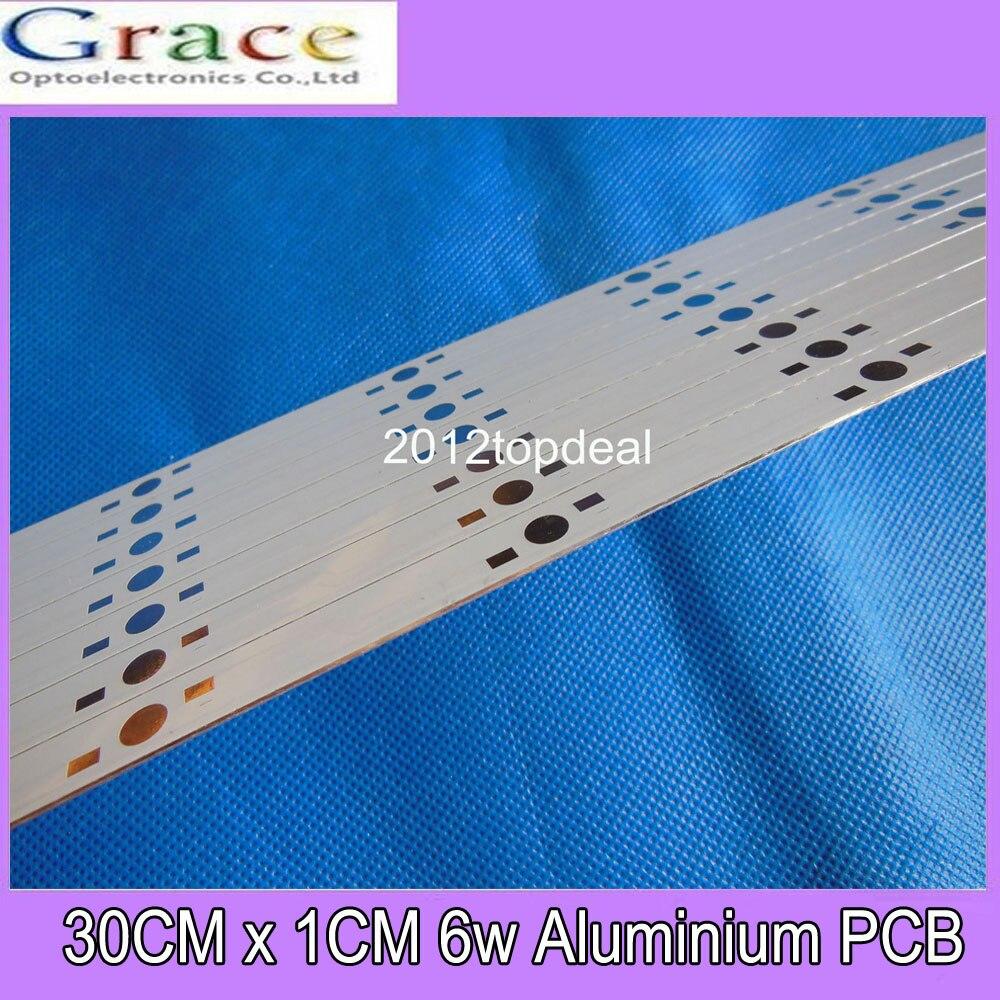 1pcs 30CM x 1CM Aluminium PCB Circuit Board for 6 x 1w,3w,5w LED in Series