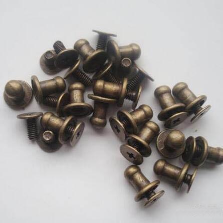 SICODA 20PCS Diy Handmade Pure Copper Screw Leather Belt Covered Button Hasp Bag Fastner Mock Head Nipple Nail 20pcs