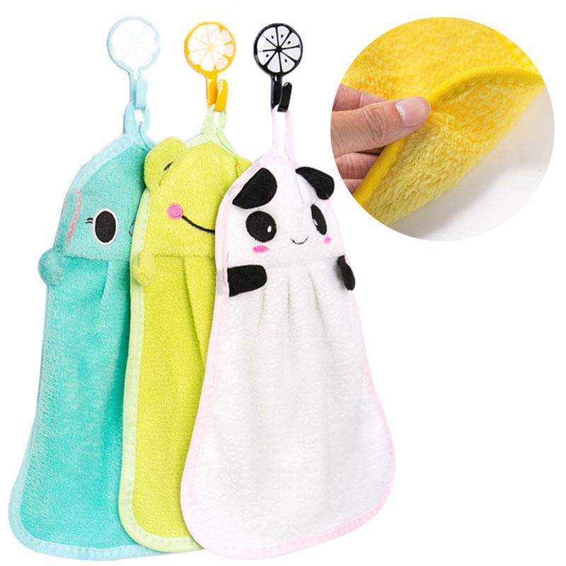 Baby Nursery Hand Towel baby bath towels Toddler Soft Plush Cartoon Animal Wipe Hanging Bathing Towel For Children Bathroom new 2017 microfiber towel set 5pc set plush baby bath towel super absorbent hand towel brand curbblan quick dry towels bathroom