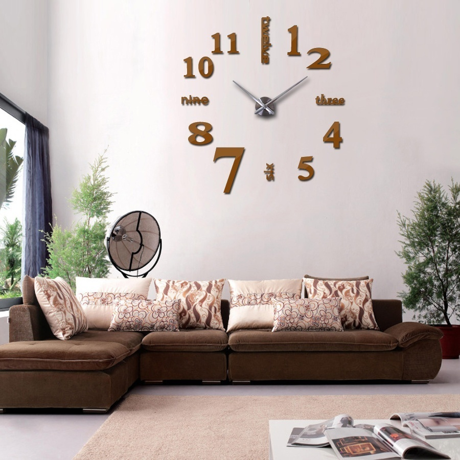 Sticker wall clock giant spiral roman numerals with needles mechanism