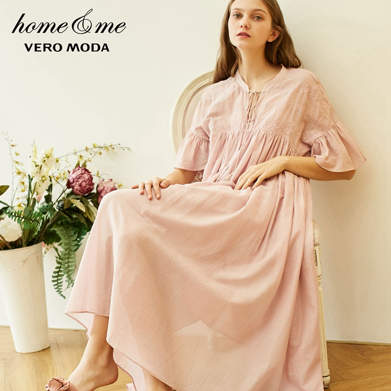 Vero Moda 2019 New Women's Royal National Style Embroidered Flared Sleeves Comfortable Homewear Dress   31917B508
