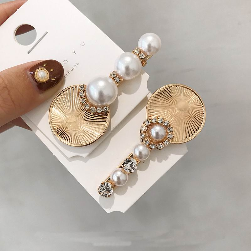 Korean Vintage Big Metal Key Wafer Crystal Simulated Pearl Barrettes Hair Clips For Women Fashion Hair Accessories Hairgrips