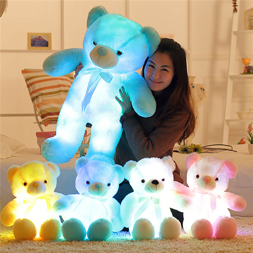 Kids Favorites Night Light Cute 30cm Lovely Soft LED Colorful Glowing Teddy Bear Stuffed Plush Toy Gifts For Birthday Party creative led light pillow cushion night light cute glowing dolphin stuffed luminous plush doll toy girl birthday kids gift