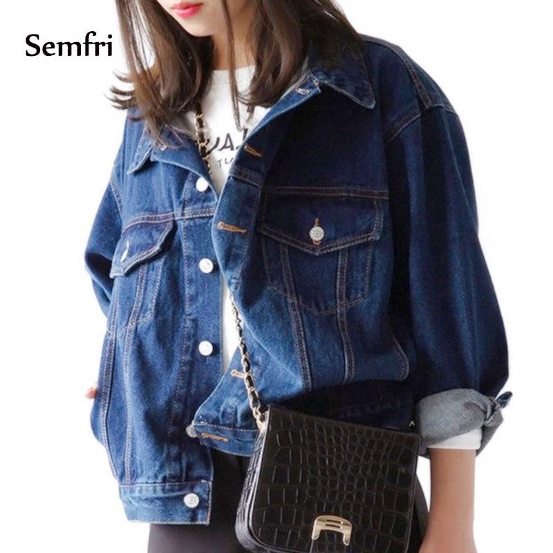 Semfri Jeans Jacket 2019 Women Denim Coat Loose Korean Fashion Basic Coat Vintage Blue Outwear Autumn Harajuku Windbreaker