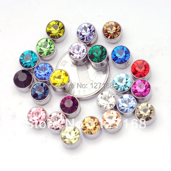 12pairs Lot Mix Colors Circle Rhinestone Magnetic Earrings Studs 7mm No Pierced Stud Free Shipping In From Jewelry Accessories On