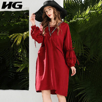 HG Folk Custom Lantern Sleeve Plus Size Dress Loose Bandage V Neck Long Sleeve Vintage Dress 2019 Autumn New ZYQ1261