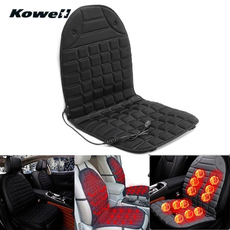 KOWELL Universal 12 V 36 W-45 W 25-60 grados asientos de invierno ajustables funda de cojín calefactada para coche cubierta de asiento con calefacción