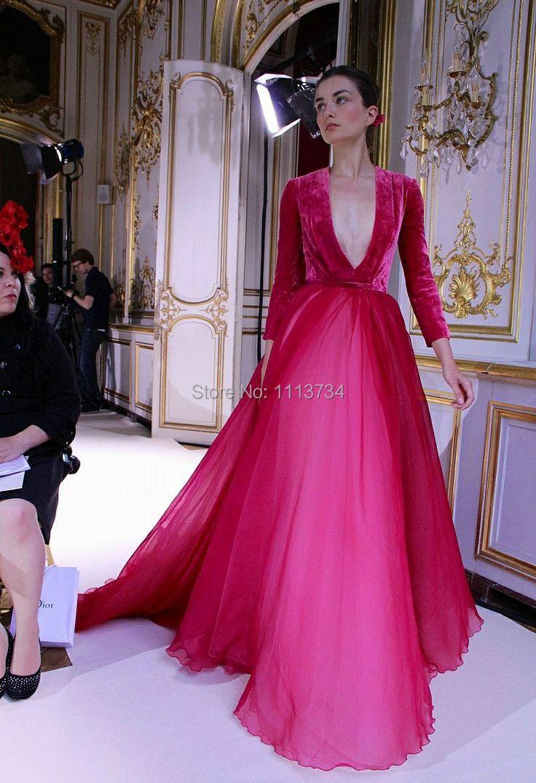Velvet Bridal Gown Long Sleeves Deep V Neck Floor length Tulle ...