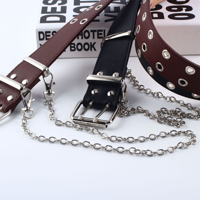 Бла панк PU кожаный пояс-цепочка для женщин Мужская пряжка жгут Пояс талии готический хип-хоп мода черный пояс унисекс Z40