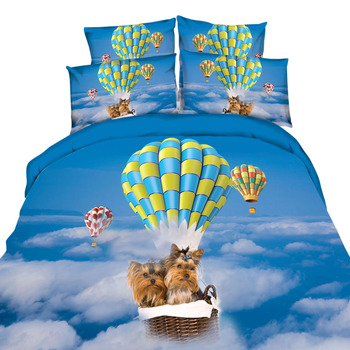 Cute 3d Dog Print Bedding Twin Full Queen King Size Animal Cotton Bedding Set Blue Sky Duvet Cover for Kids/Adult Comforter Sets