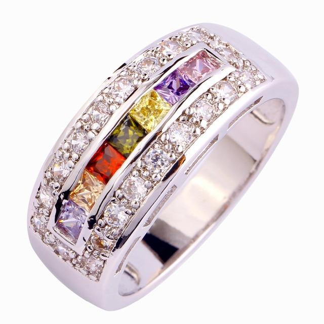 Gemas Multicolor Roxo CZ granada direto da Fábrica prateado tamanho do anel 7 8 9 10 de jóias por atacado frete grátis