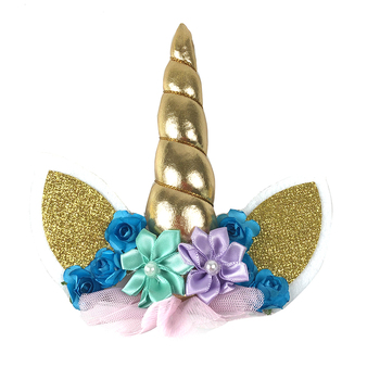10PCS/lot Unicorn Horn Ears Eyes Unicorn Horn Birthday Cake Toppers Halloween Birthday Party Dessert Table Party Decorations unicorn horn party decorations birthday party decor kids magical unicorn lace headband horn kids event party favors fancy dress