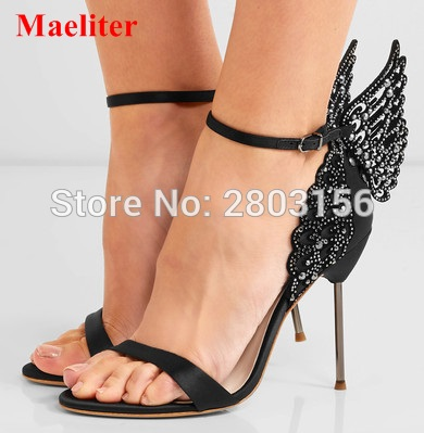 все цены на Sexy Women Peep Toe sandals Mixed-color butterfly ankle strap high heeled sandals pumps wings wedding party shoes woman онлайн