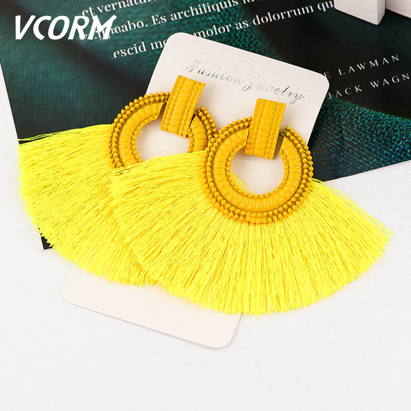 VCORM Fashion Bohemian Big Tassel Drop Earrings For Women Luxurious Silk Fabric Vintage Crystal Earrings 2019 Femme Jewelry(China)
