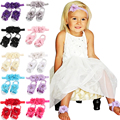 2016 Newborn Baby Flower Headband barefoot sandal sets satin flower hair accessories for Photography props 13 colors pick