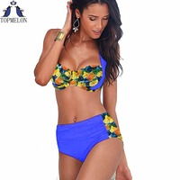 High Waist Swimsuit Bikini Set Swimsuit Women Swimwear 2016 Bathing Suit Brazilian Push Up Bikini Plus
