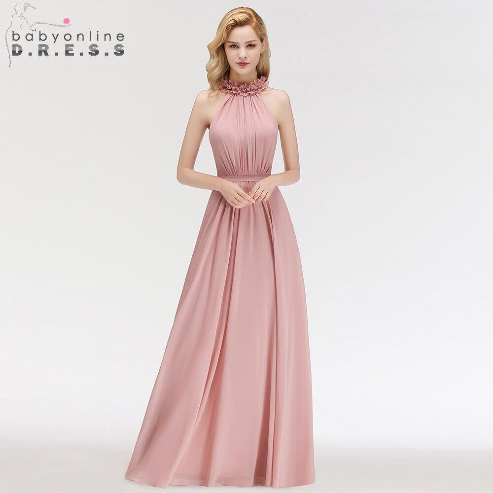 Robe de Soiree Longue Dark Pink Flowers Neck Chiffon Long Evening Dress Halter Ruched Evening Gown