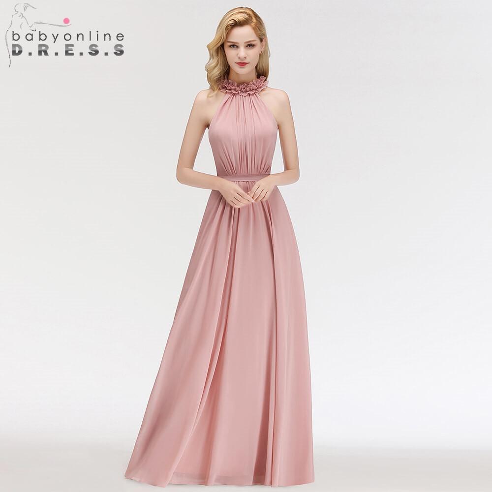 Robe de Soiree Longue Dark Pink Flowers Neck Chiffon Long Evening Dress Halter Ruched Evening Gown Party Dress Vestido de Festa