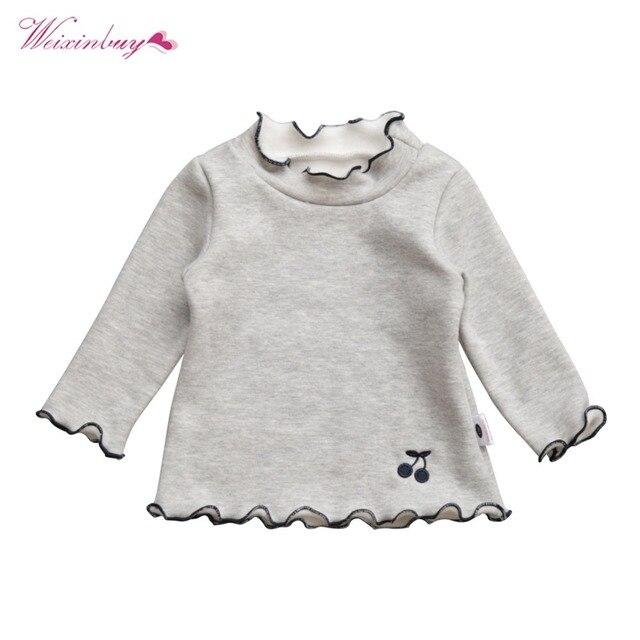 cb85f6cf1977 WEIXINBUY Girls T-Shirt Baby Girls Turtleneck Ruffles Long Sleeve T-Shirt  Cute Cartoon Bird Lace Shirts Children Blouse