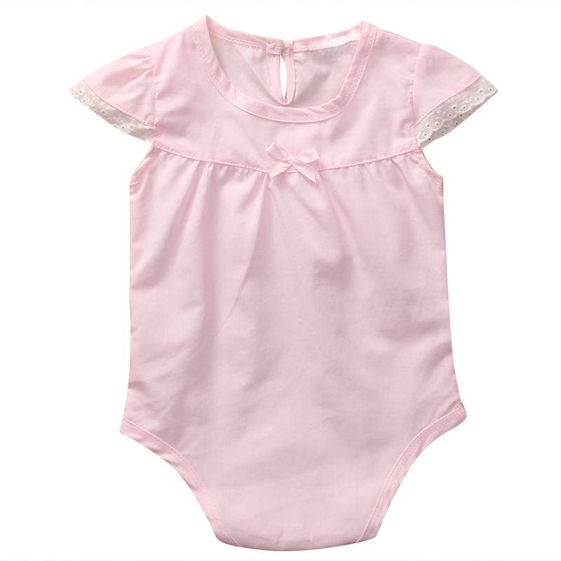 Newborn Baby Pink Rompers 2017 Summer Girl Romper O-Neck Cotton Toddler Infant Baby Jumpsuit Sleeveless Outfit Sunsuit Clothes newborn infant baby girl clothes strap lace floral romper jumpsuit outfit summer cotton backless one pieces outfit baby onesie