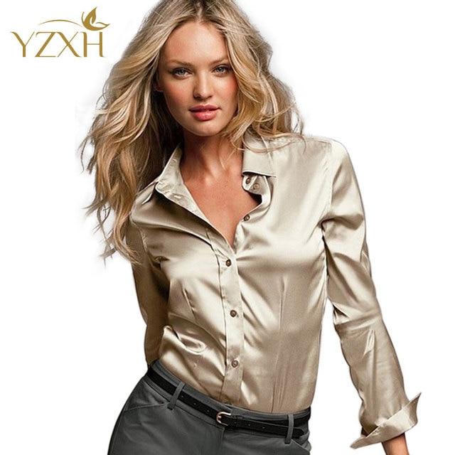 Женские атласные шелковые пуговичные блузки, шелковые атласные рубашки в стиле кэжуал, белые, черные, золотые, красные атласные блузки с длинным рукавом размеров S-XXXL