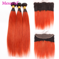 Mesariel Brazilian Straight Human Hair Bundles With Frontal Ombre 1B/350 Orange Blonde Colored 3 Bundles With Lace Frontal Remy