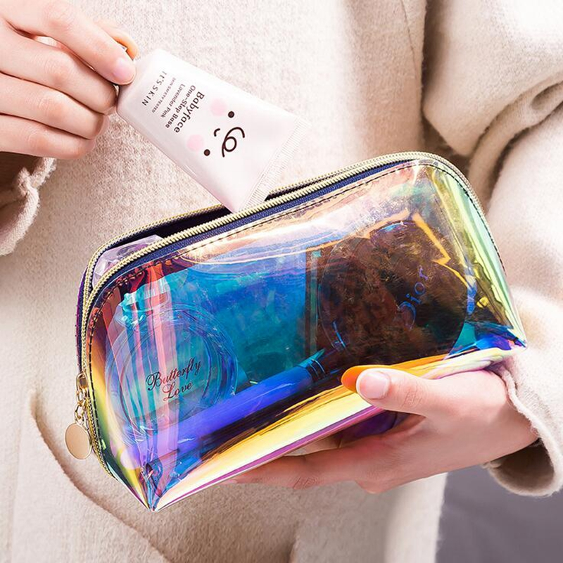 Woemn Transparent Laser Cosmetic Bag Travel Make Up Necessaries Organizer Zipper Toiletry Kit Makeup Case Pouch Wash Kit Box