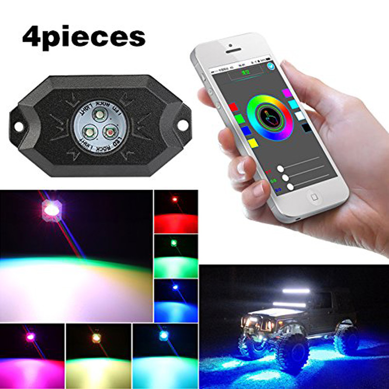 RGB LED Rock Light Kits with Bluetooth/Cell Phone Control&Timing&Music Mode&Flashing&Automatic Control Under Off Road Truck SUV rock o2 phone flash light led camera light pink