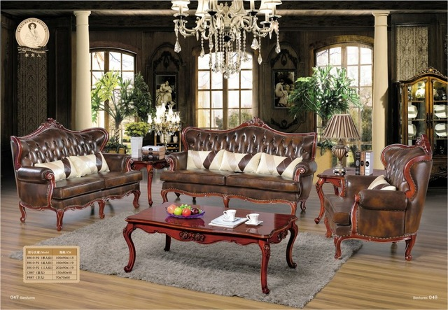 Chaise Sectional Sofa Living Room Real European Style Set Antique Bean Bag Chair In Hot