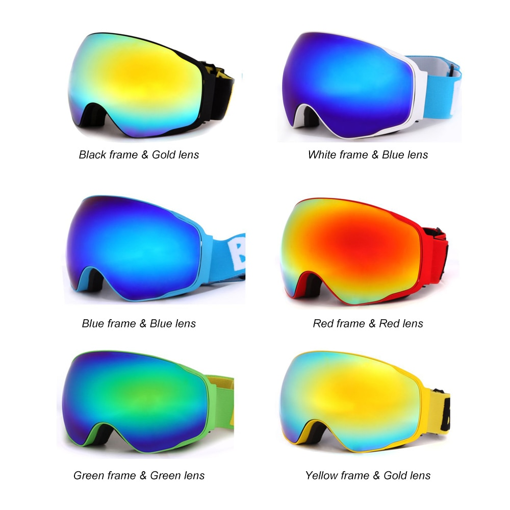 Wide Vision Professional Ski Goggle Eyewear Anti-fog UV400 Ski Glasses Skiing Snowboard Men Women Snow Goggles Helmet Compatible