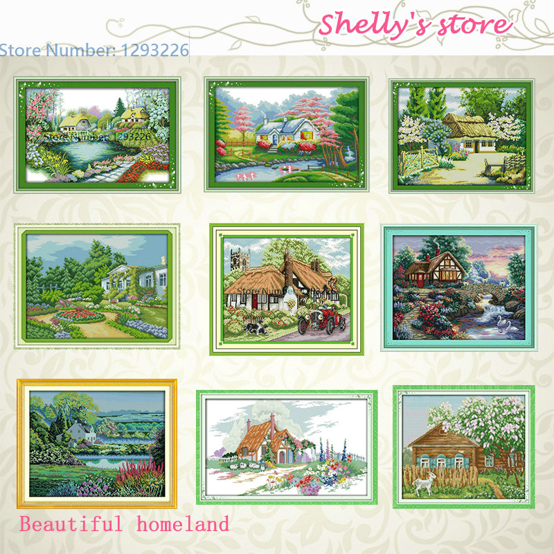 Beautiful homeland Series Pattern Stamped or Counted DIY Cross Stitch Kits for Embroidery Needlework Gift 11CT 14CT