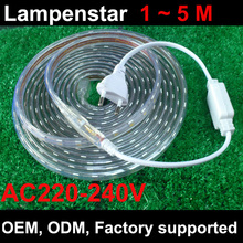 220v led strip warm white / cool white +Power plug(free),green/blue/red/,60leds/m 60led waterproof  ce rohs