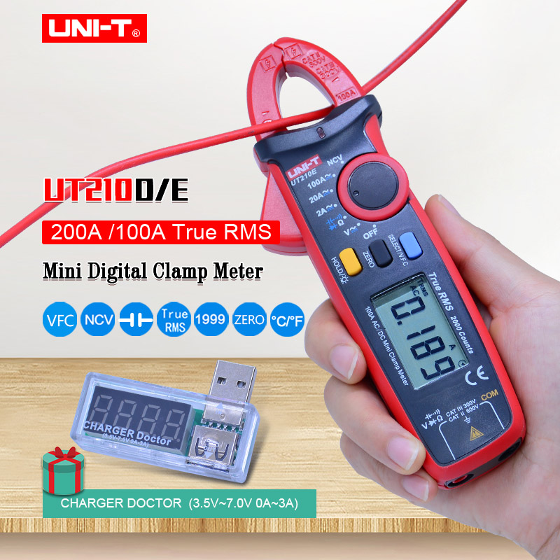 Digital Clamp Meter UNI-T UT210E UT210D;True RMS Multimeter;AC <font><b>DC</b></font> voltage current Capacitance tester+USB voltage current monitor image
